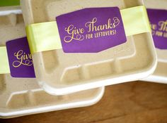 Leftovers Take-Home Boxes. Get the FREE printable labels: www.hgtv.com/entertaining/stress-less-holiday-entertaining-set-up-a-thanksgiving-buffet/pictures/page-17.html?soc=pinterest