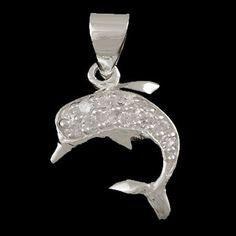 Pingente de prata 925 golfinho com pedrinhas de zircônia