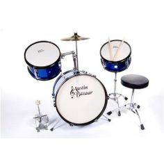 AB 3 Piece Kids Drumset DRM316 With Snare, Cymbal, Pedal, Throne, and Drumsticks - Blue by Austin Bazaar. $169.95. Austin Bazaar's 3-Piece Kids Drumset is the perfect size for kids ages 5 - 12! It includes everything you need to get rockin' right out of the box - a drum throne, bass drum pedal, a crash cymbal, and a pair of sticks!  Its durable quality will hold up to your child's playing. It features real wood multi-ply shells, fully tunable top and bottom heads and metal h...