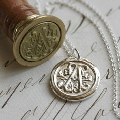 """Silver Wax Seal pendants - love that letter """"A"""" hahaa"""
