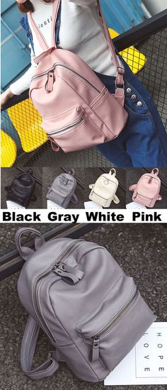 171b9f131e6d Simple Style Chic Lichee Pattern Pure Colors Pink PU School Backpack for my  sister!