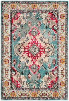 Designed to bring Bohemian-chic flair to a classic Persian style, the distressed multicolor Safavieh Monaco Vintage Bohemian Rug features a high and low loop pile mix of power-loomed, hard-wearing polypropylene yarn to accentuate any room in your home. Décor Boho, Vintage Bohemian, Bohemian Rug, Light Blue Area Rug, Blue Area Rugs, Blue Rugs, Shabby, Blog Deco, Rugs Online