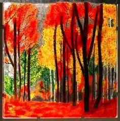 """""""Fiery Autumn Fused Glass"""" by Hartman Glass Art"""
