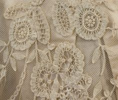 Oh what detail on Minnie's wedding gown!  1910 ~ Edwardian Vintage Clothing: #1035 Wedding gown at Vintage Textile