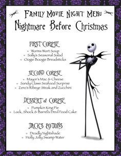 Nightmare Before Christmas Family Movie Night Menu (Halloween Version); Disney F… Nightmare Before Christmas Family Movie Night Menu (Halloween Version); Disney F… – Menu Halloween, Halloween Movie Night, Christmas Movie Night, Family Halloween, Disney Familie, Disney Family Movies, Disney Dinner, Dinner And A Movie, Family Theme