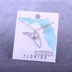 Customizable! State of Mine: Florida Soccer Silver Necklace