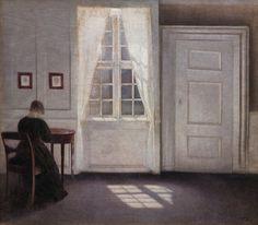 Vilhelm Hammershøi - Interior from Strandgade with Sunlight on the Floor (1901)
