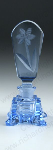 VINTAGE GLASS: ART DECO SCENT & PERFUME BOTTLES. c.1930s BLUE CUT CRYSTAL SCENT BOTTLE WITH FLORAL STOPPER, CZECHOSLOVAKIAN. To visit my website click here: http://www.richardhoppe.co.uk or for help or information email us here: info@richardhoppe.co.uk