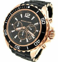 MICHAEL KORS CHRONOGRAPH SILICONE MENS WATCH - MK8269 Michael Kors. $226.40. Black silicone strap. Round rose gold tone stainless steel case. Quartz movement. Black chronograph dial with date window. Water resistant to 50 meters