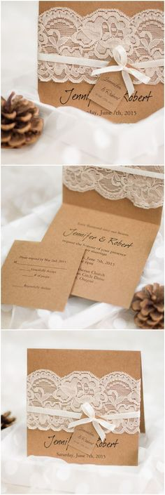 rustic wedding invitations with lace and ribbon: