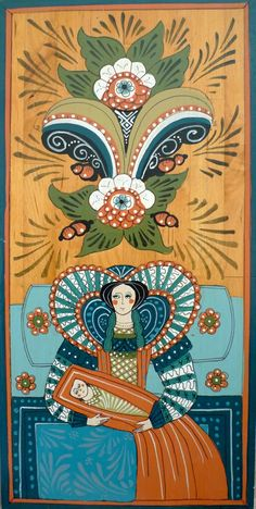 """Elisabethan """"Madonna"""" by Leif Södergren in Swedish Folk Art style. More pictures here"""