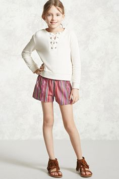 Forever 21 Girls - A pair of woven shorts featuring a multicolored stripe, elasticized waist, and vented sides.