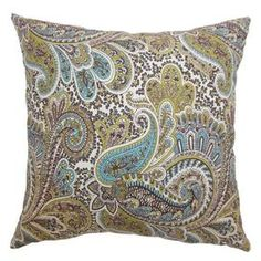 """Add a touch of exotic allure to your sofa, settee, or bed with this eye-catching pillow.     Product: PillowConstruction Material: Cotton cover and down fillColor: Chocolate and multiFeatures:  Insert includedHidden zipper closure Dimensions: 18"""" x 18""""Cleaning and Care: Spot clean"""