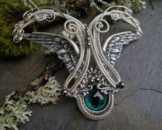 Gothic Steampunk Wing Cat Eye Necklace made with Bsue Brass in Silver ox by twistedsisterarts, $149.95