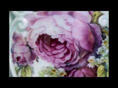 ▶ Birgit Porter Painting Porcelain Vase, European Technique, 2 hours in about 7 minutes - YouTube