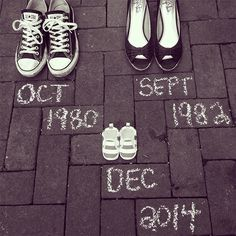 Loving this pregnancy announcement! So elegant- and all you need are shoes and sidewalk chalk!