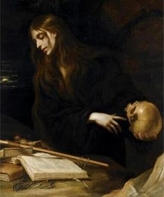 The Penitent Magdalene. Mateo Cerezo (Spanish, Oil on canvas. Cerezo's style is that of Spanish Baroque, influenced by Tenebrism. Cerezo was inspired by Titian and the. Tableaux Vivants, Renaissance Kunst, Arte Obscura, Baroque Art, Baroque Painting, Skull Painting, Arte Horror, Old Paintings, Classical Art