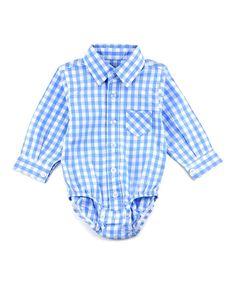 Blue Gingham Dress Shirt Bodysuit - Infant & Toddler
