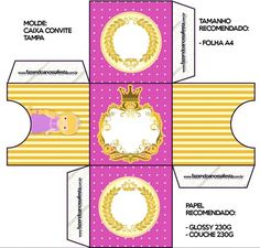 Convite Caixa Tampa Princesa Loira Princess Rapunzel, Box Invitations, Blond, Party Kit, Princess