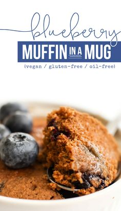 Two minutes to muffin! Blueberry Muffin in a Mug #vegan #glutenfree #oilfree