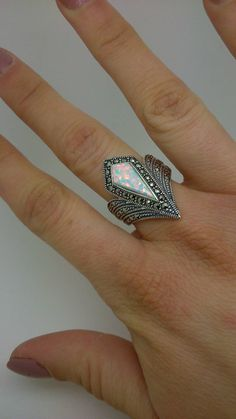 Art Deco Inspired Ring Sterling Silver with Natural Opal and Marcasite. Size M…