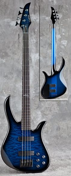 Beautiful Sapphire blueburst quilted Carvin bass guitar
