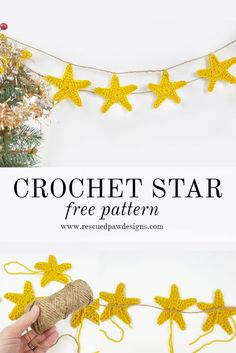 Crochet Star Garland Pattern by Rescued Paw Designs. Make a Crochet Star with the FREE crochet pattern!  via @rescuedpaw