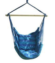 Hanging Hammock Chair Blue Swinging Chairs Outdoor Air Seat Tree Cotton NEW  #HangingHammockChairBlueSwingingChairs