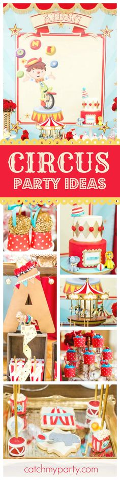 Step into this wonderful Circus birthday party! The dessert table and decorations are amazing! Love the birthday cake!! See more party ideas and share yours at CatchMyParty.com