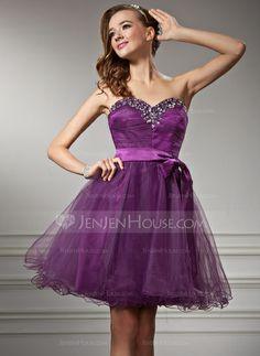 Homecoming Dresses - $123.99 - A-Line/Princess Sweetheart Short/Mini Tulle Charmeuse Homecoming Dress With Ruffle Beading (022010242) http://jenjenhouse.com/A-Line-Princess-Sweetheart-Short-Mini-Tulle-Charmeuse-Homecoming-Dress-With-Ruffle-Beading-022010242-g10242?ver=1