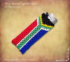 Beaded SA Flag Cigarette Lighter