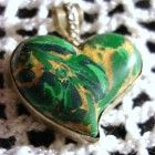 Rare Green Malachite Large Heart Pendant set in silver