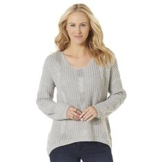 Oversized cute knit sweater Some days require a little extra comfort. Luckily, this women's slouchy sweater is comfy, cozy and cute. A wide scoop neck and drop shoulder seams create a laid-back fit. Twisted cable knit stitching adds charm, while the high-low hem makes this sweater a trendy choice for a chilly day. Wide scoop neck Long sleeves; drop shoulder seams Boxy fit Cable knit construction Fabric: 100% acrylic Care: Machine wash. *****Sweater is a size M, but fits like a large, so it's…