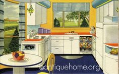 1940s kitchen, from a Hotpoint publication. #kitchen
