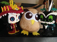 Owly is hobnobbing with Funco Pops. Day 55 #yearofowly #lifeofowly
