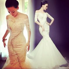 Dreamsa Fall/winter ultra S build 2014 original latest thin tail of the bride long sleeve one shoulder lace dress Bride Gowns, Bridal Dresses, Wedding Gowns, Ivory Wedding, Half Sleeve Wedding Dress, One Shoulder Wedding Dress, Buy Dress, Lace Dress, Cathedral Wedding Dress