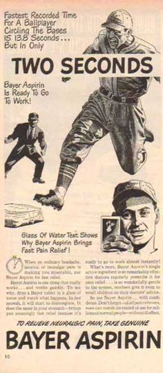 Bayer Aspirin – Baseball Relief with Pain Relief Record (1948)