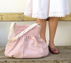 smocked gingham tote. Could be made from little girl's dress.