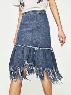 Shop Blue High Waist Fringe Hem Denim Skirt from choies.com .Free shipping Worldwide.$21.99