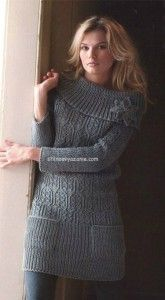 Knit dress with flower