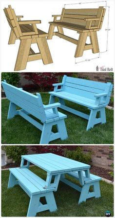 DIY Convertible Picnic Table and Bench Free Plan Instructions - DIY Outdoor Patio Furniture Ideas #Teakpatiofurnitureideas