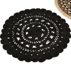 Tapis rond en jute naturelle tissé main Fleur noir - D120 cm