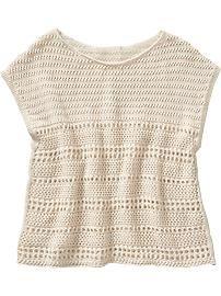 Girls Open-Stitch Sweaters