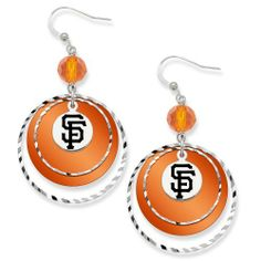 MLB San Francisco Giants LogoArt Game Day Earrings by Logo Art. $23.08. On game day, your outfit will be complete by wearing these LogoArt Game Day earrings! These dangle earrings boast your team's color with a colored glass bead right below the sheperd's hook. Just below the glass bead, there are multiple silver tone textured round metal circles that hang on top of a team-colored lucite disk. To make the earring complete, right in the middle of the action...