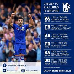 CHELSEA FC Fixtures, September 2015 (Time zone for Indonesia)