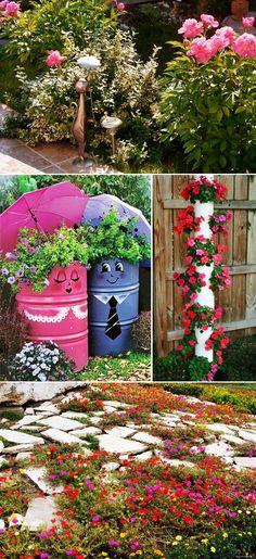 MENTŐÖTLET - kreáció, újrahasznosítás: Virágos kert Garden Fence Paint, Front Yard Garden Design, Garden Yard Ideas, Diy Garden Projects, Garden Crafts, Diy Garden Decor, Lawn And Garden, Garden Pots, Cheap Landscaping Ideas