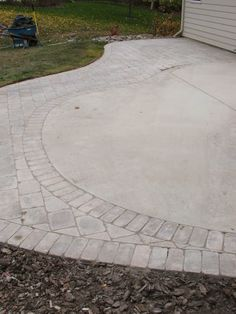 Add A Curved Slab To The Current Square Slab To Add Dimension, Then Add  Pavers