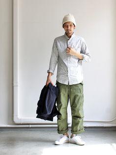 nisica_20150921IMG_5928 Japan Fashion, Mens Fashion, Army Pants, Japanese Streetwear, Japanese Street Fashion, Men Looks, Minimalist Fashion, Work Wear, Cool Outfits