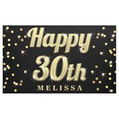 Happy 30th Gold Bling Typography Confetti Black Banner Happy Birthday For Her, Happy Birthday Celebration, Happy Birthday Banners, Personalized Banners, Custom Banners, 50th Birthday Balloons, 60th Birthday, Birthday Signs, Happy Birthday Typography