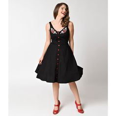 Hell Bunny 1950s Style Black & Cherry Button Up Lulu Swing Dress ($74) ❤ liked on Polyvore featuring dresses, black, trapeze dresses, embroidered dress, flower dress, a line swing dress and button up dress